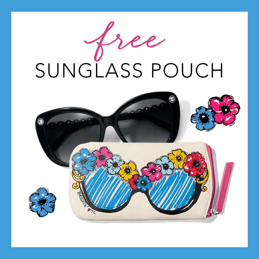 Copy: Free sunglass pouch. Black sunglasses shown along with Brighton floral decorated sunglass pouch.