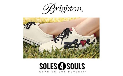 Brighton logo. Soles 4 Souls. Wearing Out Poverty. Image: Cropped image of feet wearing cream color tennis shoes with the word Love on the side.