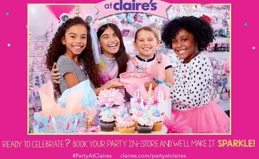 Image: 4 young girls smiling at a birthday party wearing fun clothes, smiling, and gathered around a plate of cupcakes and gift bags with the Claire's store in the background. Copy: at Claires. Ready to Celebrate? Book your party in-store and we'll make it sparkle! #PartyAtClaires claires.com/partyatclaires