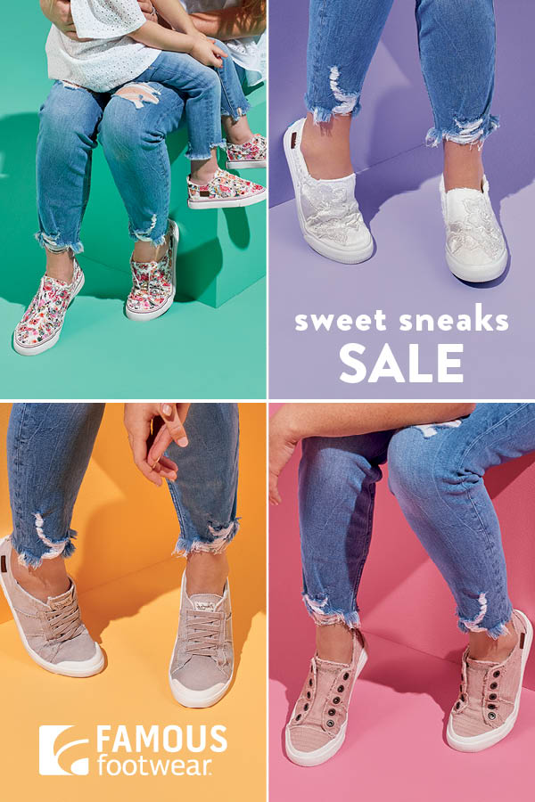 Five different pairs of sneakers being worn against a four-color pastel background. Copy: Sweet Sneaks Sale. Famous Footwear logo