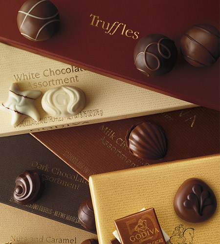 Shown: Assorted truffles, white chocolate, milk chocolate and dark chocolate pieces.