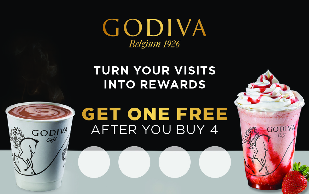 Copy: Godiva Belgium 1926. Turn your visits into rewards. Get one gree after you buy 4. Shown two drinks, one hot chocolate, one strawberry chocolixer with strawberry next to cup.