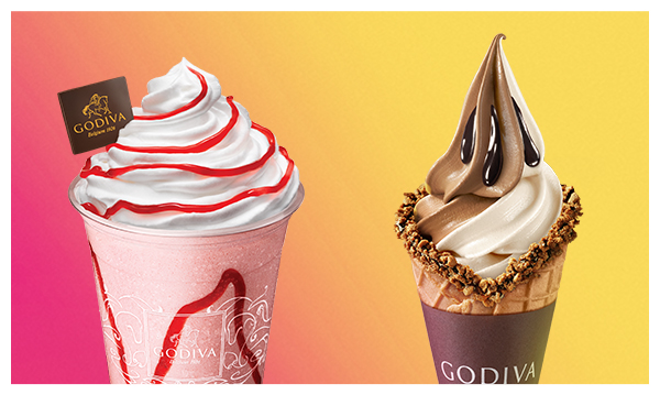 Godiva soft serve vanilla and chocolate cone and soft serve parfait strawberry with whipped cream and Godiva stamped chocolate