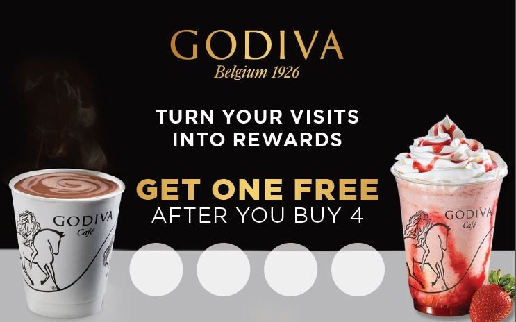 Godiva Belgium 1926. Turn your visits into rewards. Get one free after you buy 4. Hot chocolate and strawberry chocolixir shown.