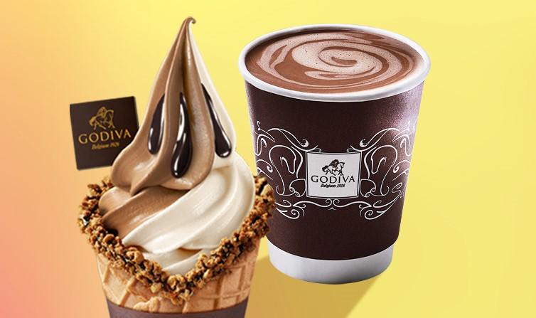 Godiva soft serve ice cream cone and hot chocolate