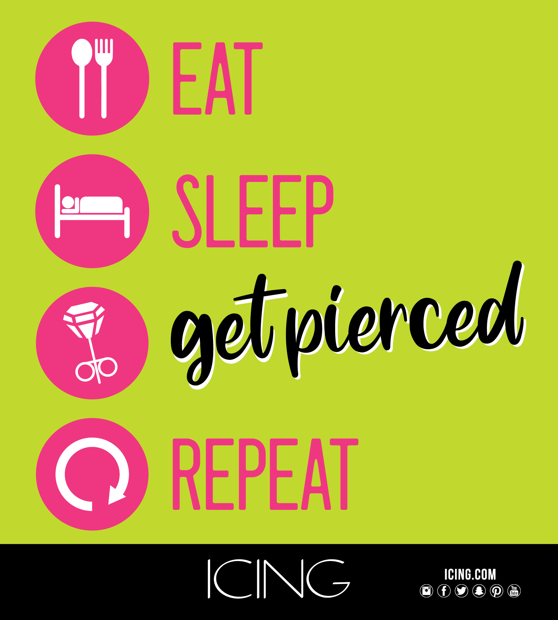 Copy: Eat (image fork and spoon), sleep (image of person laying on bed), get pierced (earring image), repeat (curved arrow image).  Icing.com, instagram logo, facebook logo, twitter logo, snapchat, pinterest logo, youtube logo.