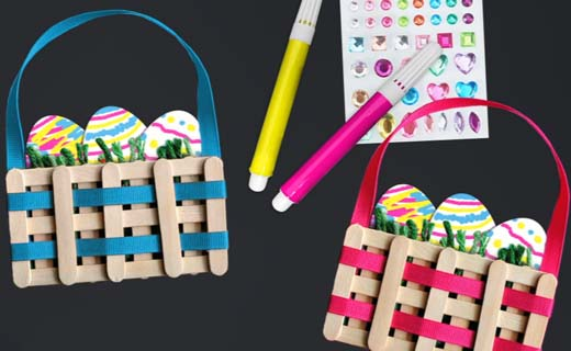 Decorated Easter basket craft kits with markers and stickers