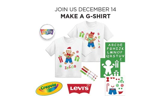 Copy: Join us December 14 Make a G-Shirt. Two white shirts shown with holiday gingerbread people and presents decorating the front. Crayola logo, Levis logo. Stencils, markers and stickers shown.