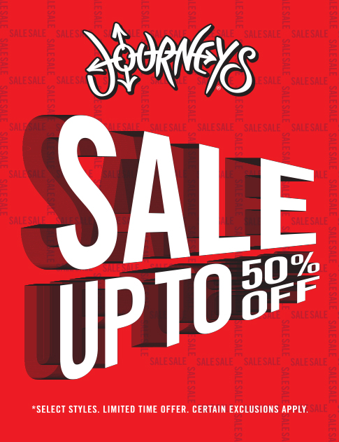 Journeys logo. Text: Sale up to 50% off. *Select styles. Limited time offer. Certain exclusions apply.