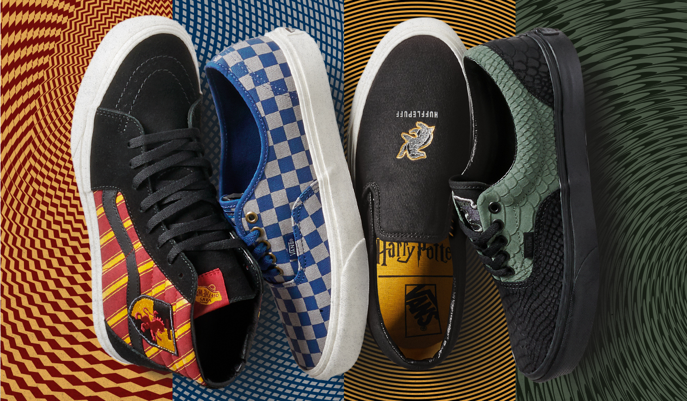 Four styles of Vans tennis shoes in various Harry Potter designs