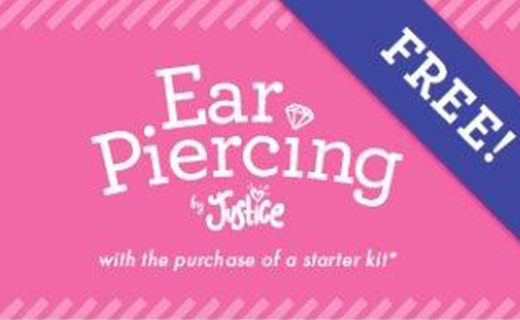 Pink background with purple banner. Copy: Free Ear Piercing by Justice with the purchase of a starter kit*