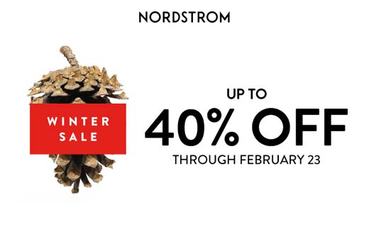 Image: Pine cone. Copy: Nordstrom. Winter Sale Up to 40% Off through February 23.