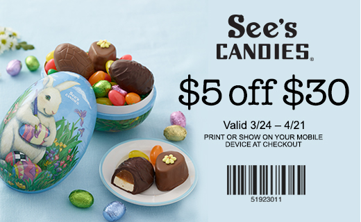 Decorative Easter Egg bunny decoration filled with candy shaped chocolate eggs, foil wrapped eggs and jelly beans.  Copy: See's Candies logo $5 off a $30 Valid 3/24 –4/21 Print or show on your mobile device at checkout. Barcode