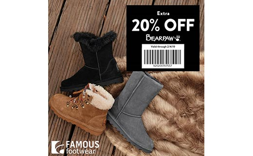 ec51749aad0ac6 Take on winter weather like a pro. Bundle up and save with an extra 20% off  cozy boots from Bearpaw with this barcode.