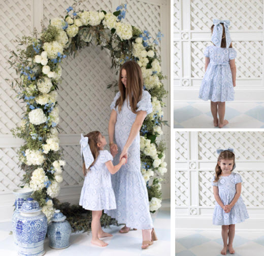 mother and daughter in matching blue and white dresses