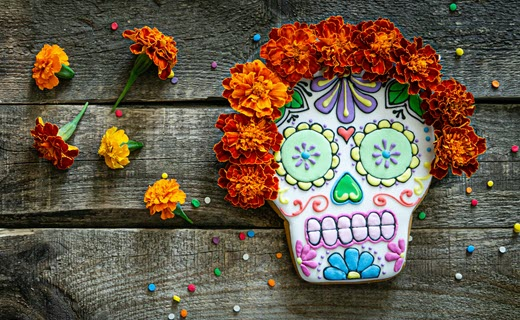 colorful sugar skull and flowers