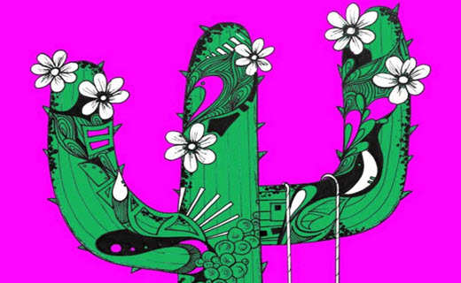 Artwork of a flowering cactus against a neon magenta background