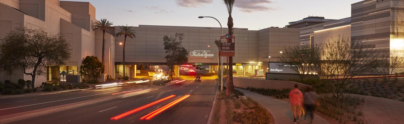 Scottsdale Fashion Square's exterior at dusk