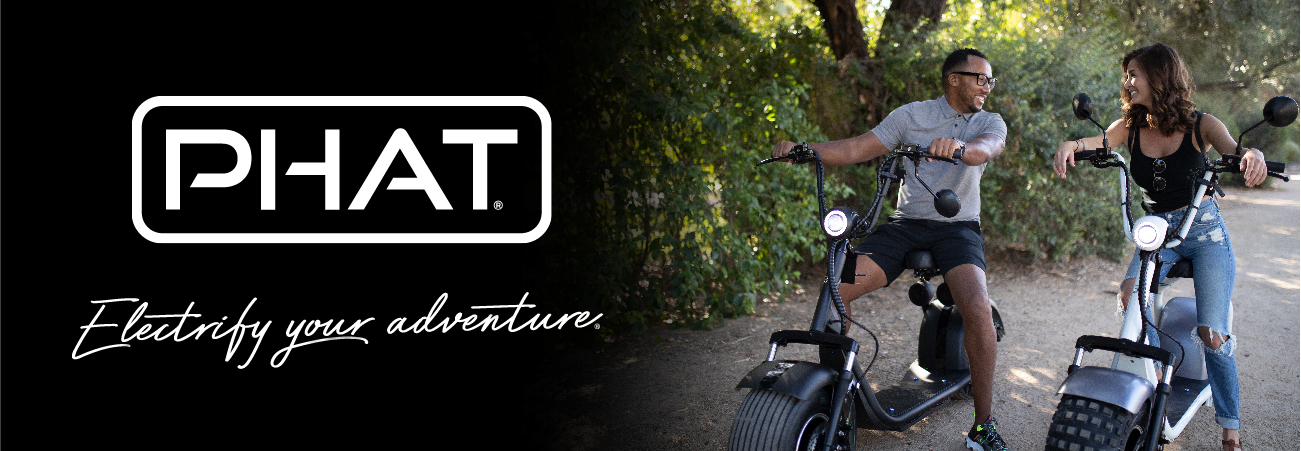 Phat Scooter logo with tagline: Electrify your adventure two scooters with a male and female in the seats
