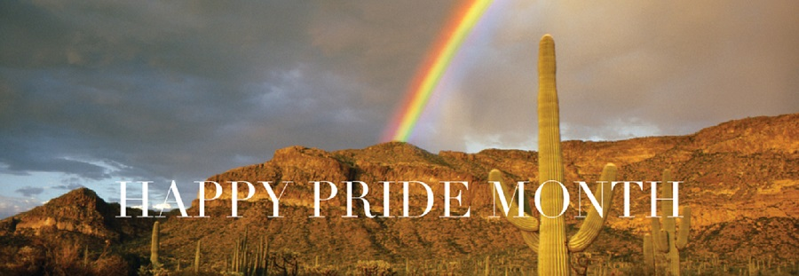 mountain scene with rainbow and words: Happy Pride Month