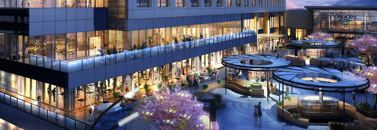 Rendering of the Hyatt at night