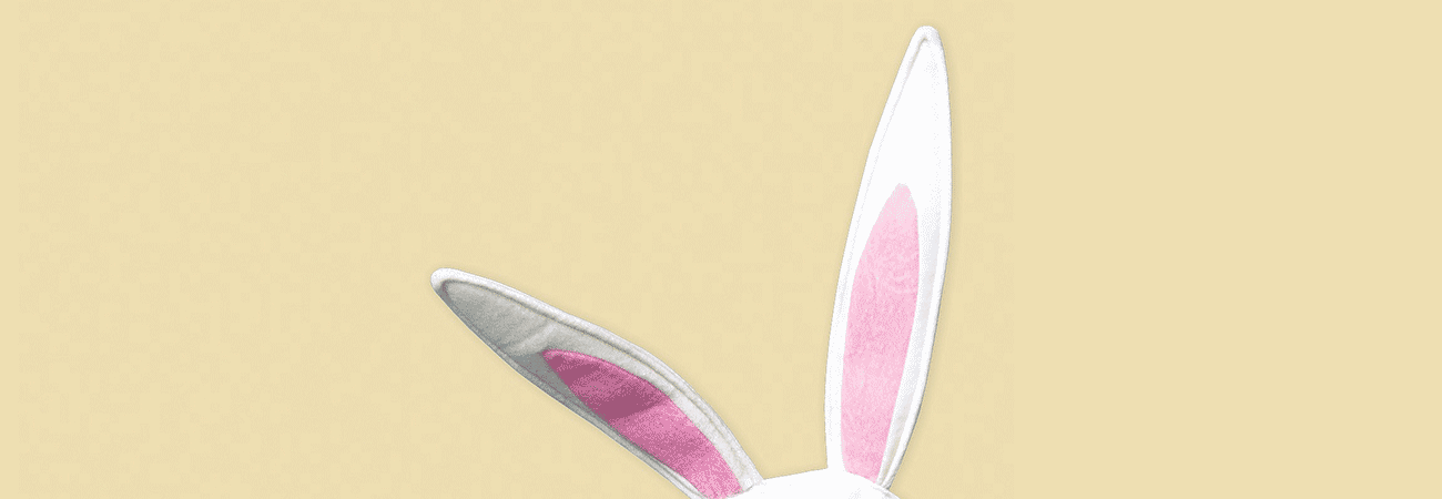 Felt Easter Bunny ears on a yellow background