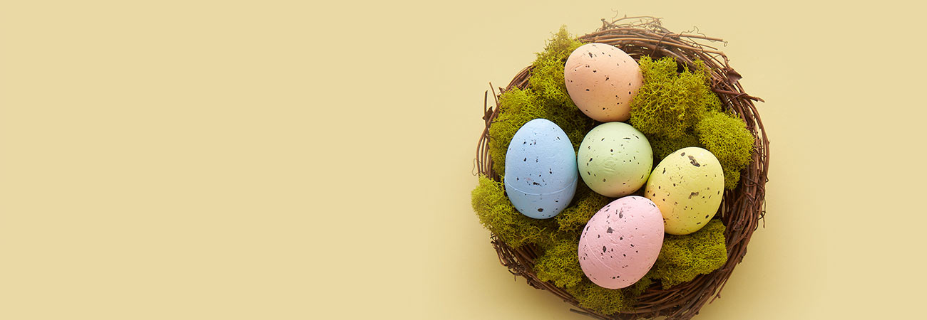 Nest filled with pastel eggs