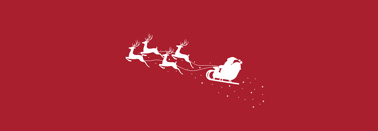 Illustrated silhouette of Santa's sleigh and reindeer rendered in white against a red background