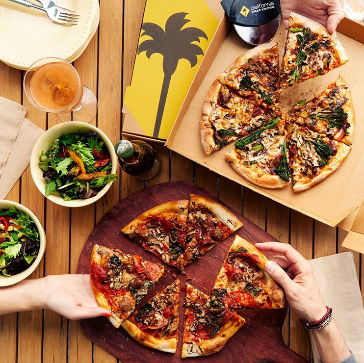 CPK takeout spread on table