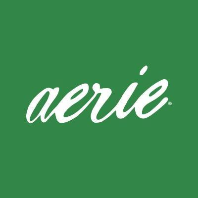 White letters spelling aerie on green background.