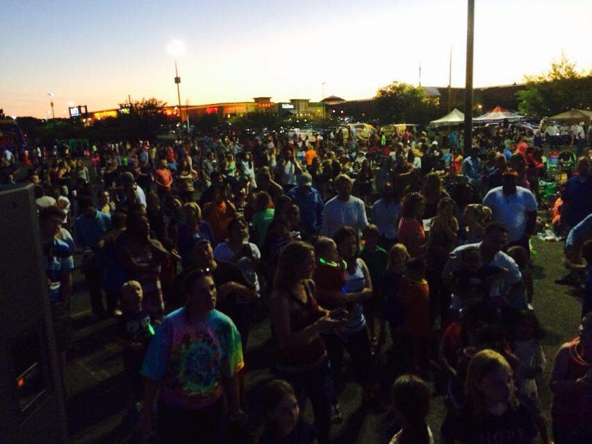 Outside in parking lot prior to fireworks starting.