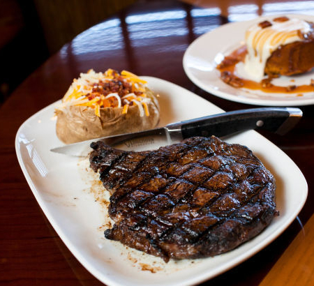 Longhorn Steakhouse - steak and twice baked potato