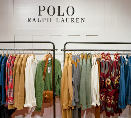 Clothing rack filled with Polo tops