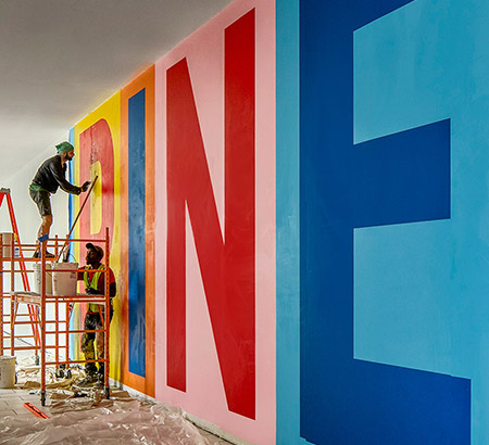 Anthony Burrill's mural under construction