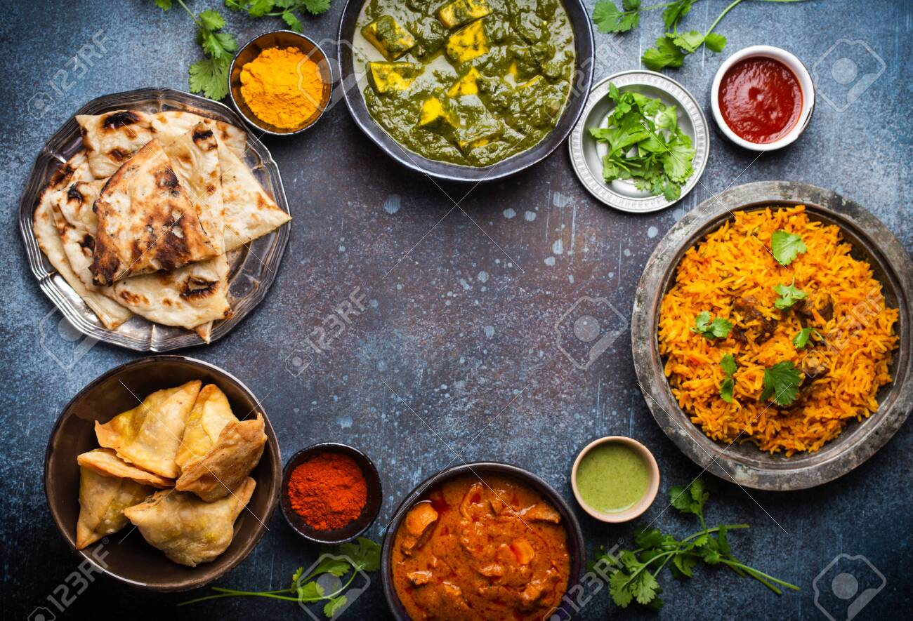 Selection of various Authentic Indian dishes