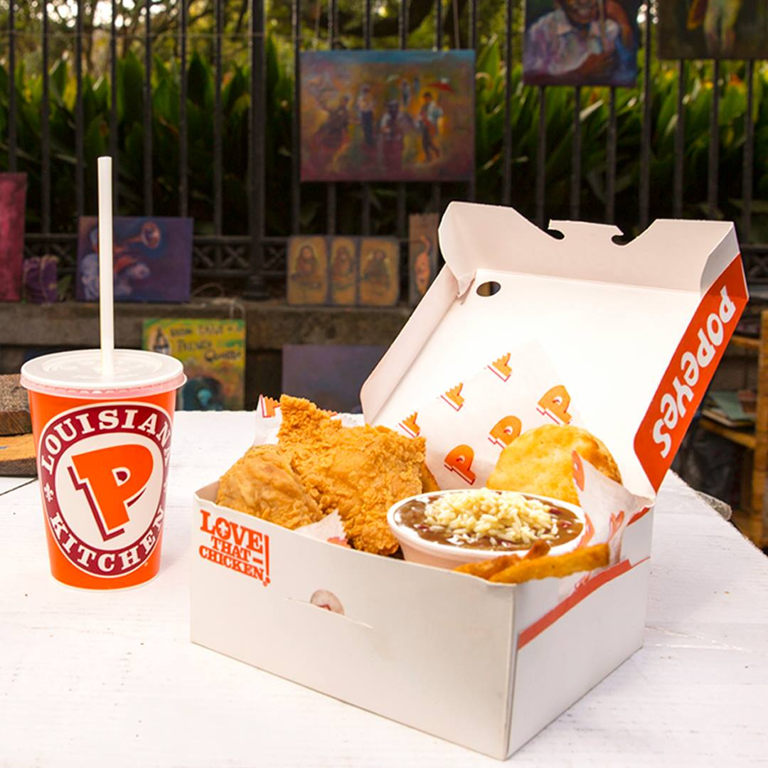 Popeye's chicken meal box and drink