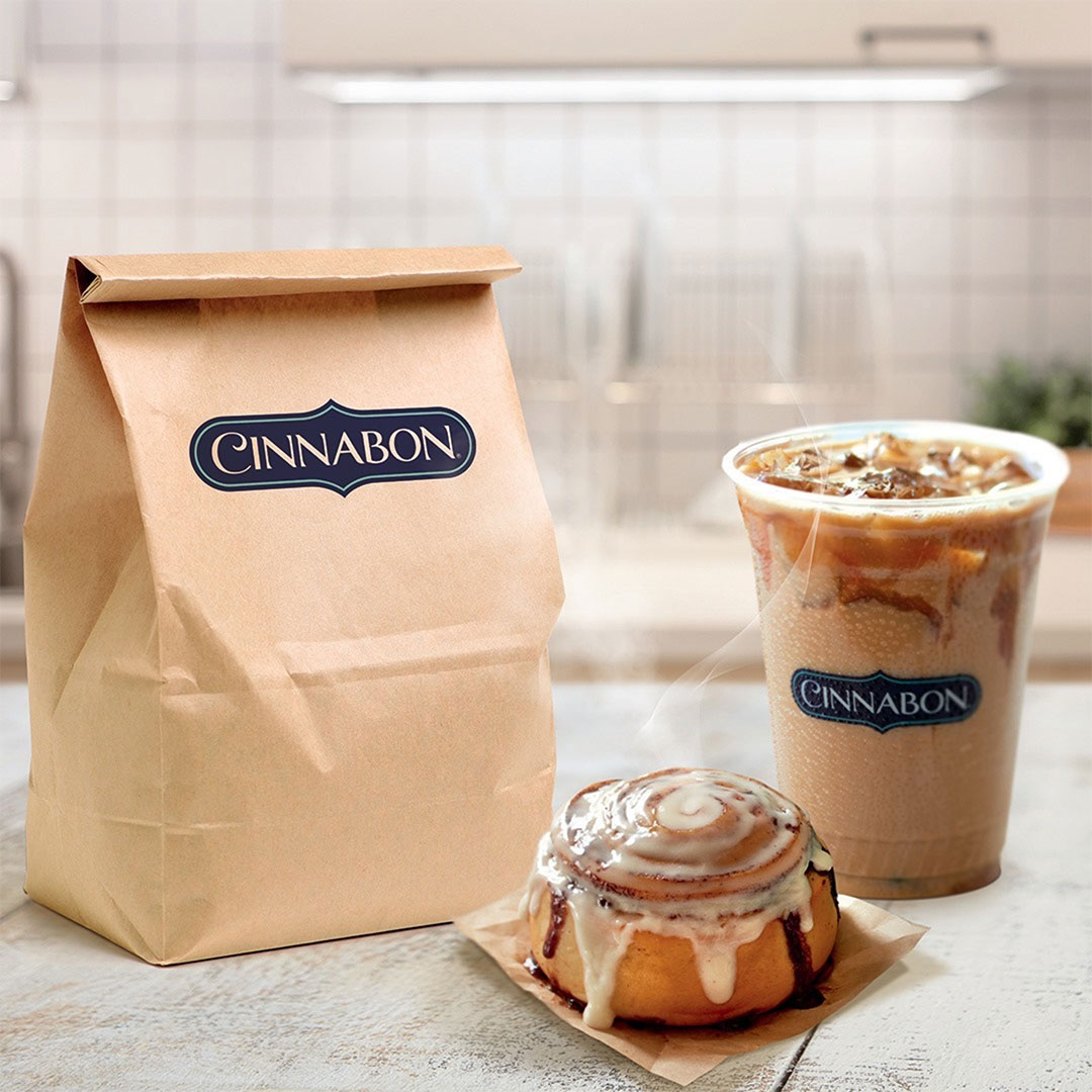 Cinnabon, Cinnabon iced coffee and take out bag