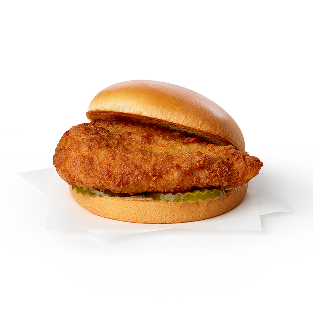 Classic Chick-Fil-A Sandwich on grey background