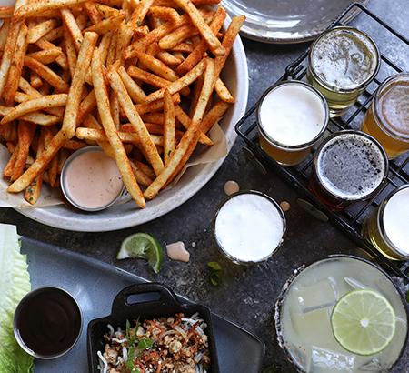 Seasoned Fries beer sampler Margarita and lettuce wraps
