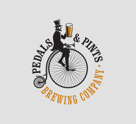 Pedals and Pints logo on gray background