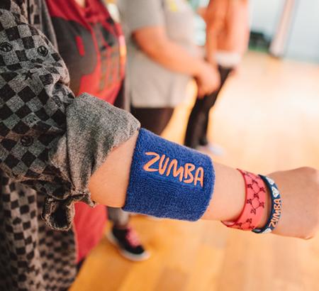 close up of Zumba wrist sweat guard