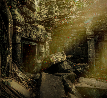 Abandoned ruins overgrown with vines.