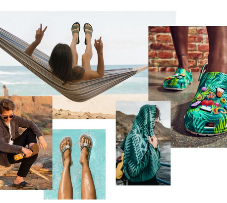 A collage of images of people wearing sandals outdoors.