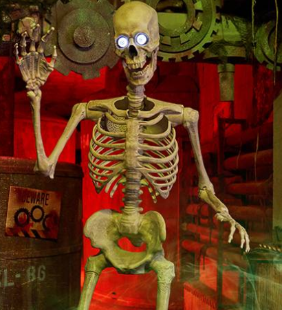Skeleton with light up eyes in front of a red background