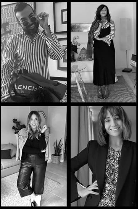quad image of influencers in black and white