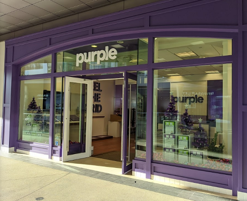 Purple storefront entrance