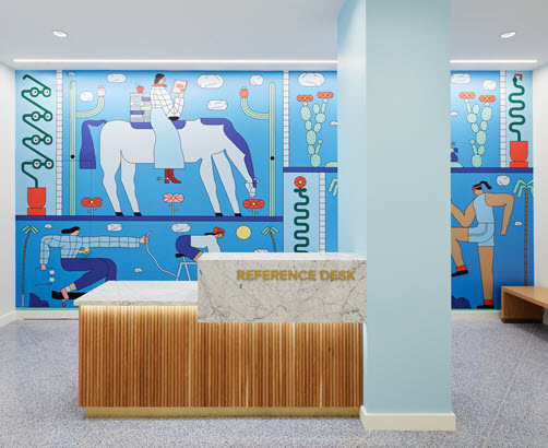 Mural inside Warby Parker with arizona depictions