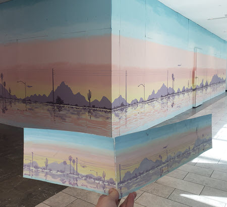 mural of a sunset over camelback mountain