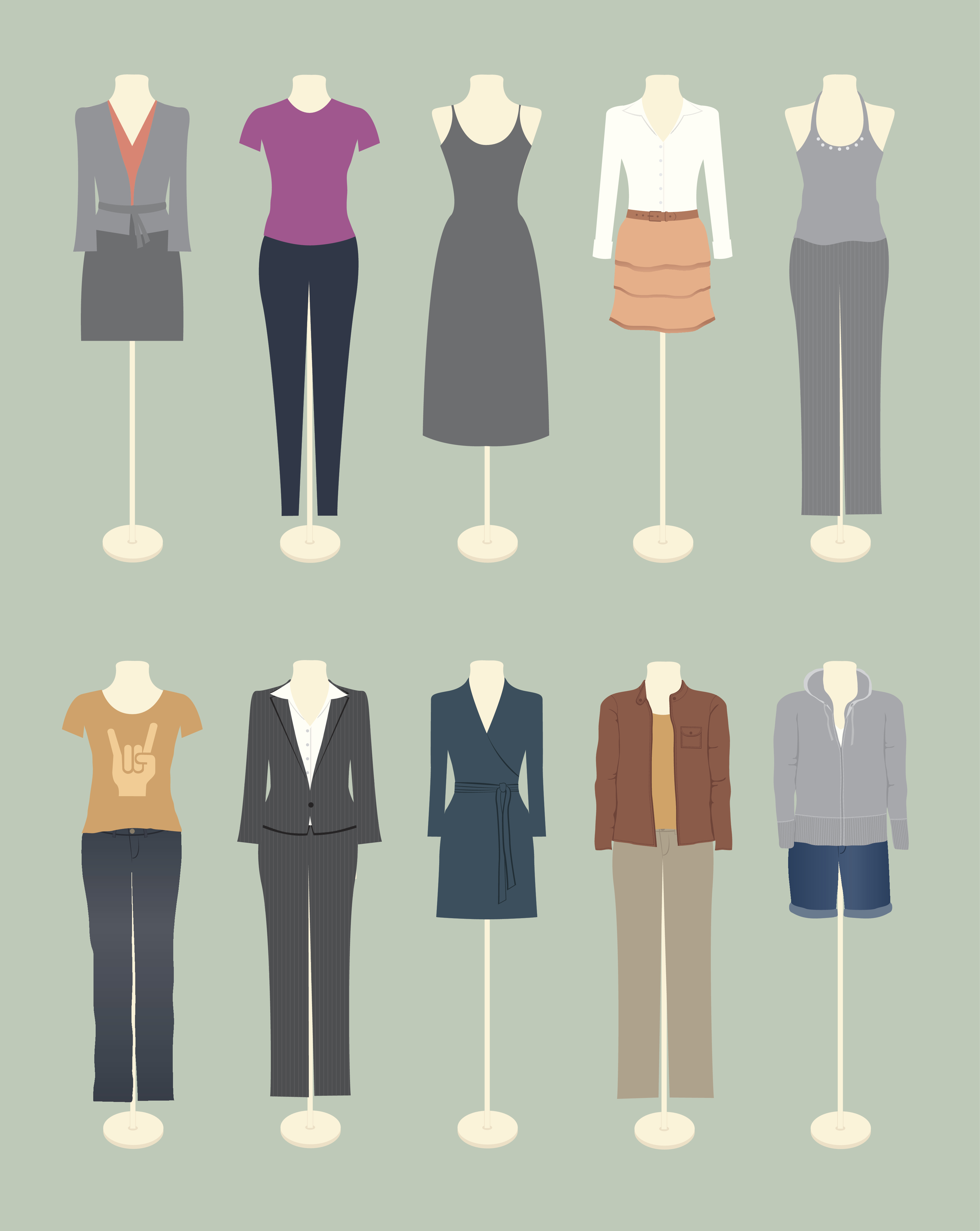 8 mannequins drawn on a green background in a variety of attire