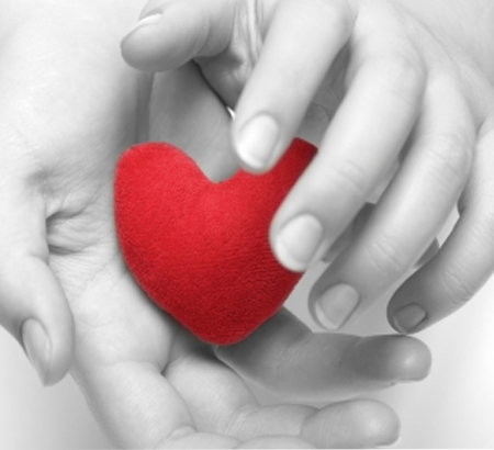 Black and white hands holding a red heart